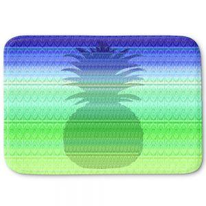 Decorative Bathroom Mats   Susie Kunzelman - Pineapple Blue   fruit silhouette pattern