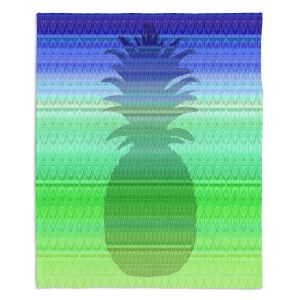 Decorative Fleece Throw Blankets | Susie Kunzelman - Pineapple Blue | fruit silhouette pattern