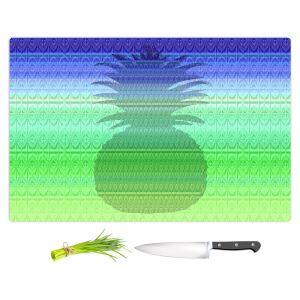 Artistic Kitchen Bar Cutting Boards | Susie Kunzelman - Pineapple Blue | fruit silhouette pattern