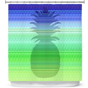Premium Shower Curtains | Susie Kunzelman - Pineapple Blue | fruit silhouette pattern