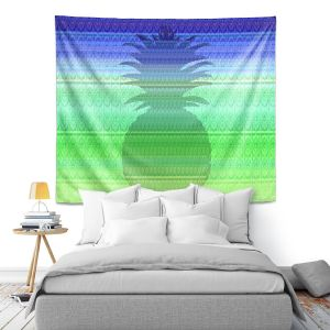 Artistic Wall Tapestry | Susie Kunzelman - Pineapple Blue | fruit silhouette pattern