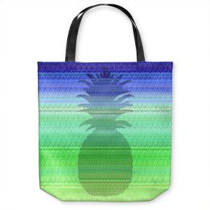 Unique Shoulder Bag Tote Bags | Susie Kunzelman - Pineapple Blue | fruit silhouette pattern