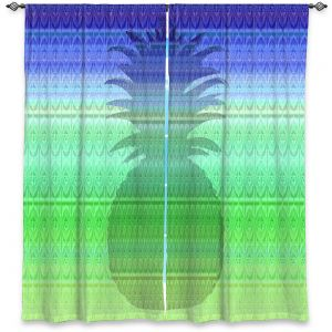 Decorative Window Treatments | Susie Kunzelman - Pineapple Blue | fruit silhouette pattern