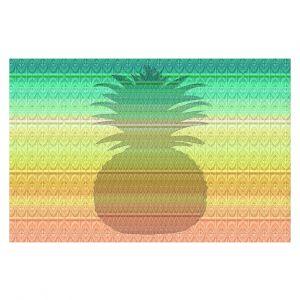 Decorative Floor Covering Mats | Susie Kunzelman - Pineapple Rainbow 3 | fruit silhouette pattern