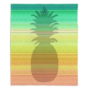 Decorative Fleece Throw Blankets | Susie Kunzelman - Pineapple Rainbow 3 | fruit silhouette pattern