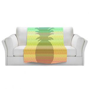 Artistic Sherpa Pile Blankets | Susie Kunzelman - Pineapple Rainbow 3 | fruit silhouette pattern