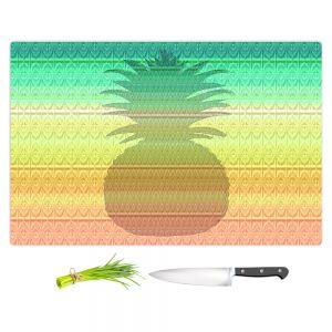 Artistic Kitchen Bar Cutting Boards | Susie Kunzelman - Pineapple Rainbow 3 | fruit silhouette pattern