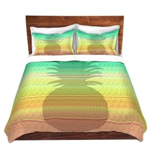Artistic Duvet Covers and Shams Bedding | Susie Kunzelman - Pineapple Rainbow 3 | fruit silhouette pattern