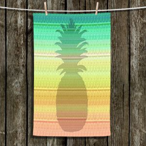 Unique Hanging Tea Towels | Susie Kunzelman - Pineapple Rainbow 3 | fruit silhouette pattern