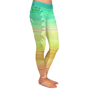 Casual Comfortable Leggings | Susie Kunzelman - Pineapple Rainbow 3 | fruit silhouette pattern