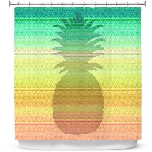 Premium Shower Curtains | Susie Kunzelman - Pineapple Rainbow 3 | fruit silhouette pattern