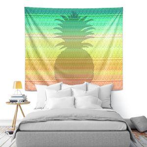 Artistic Wall Tapestry | Susie Kunzelman - Pineapple Rainbow 3 | fruit silhouette pattern