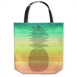 Unique Shoulder Bag Tote Bags | Susie Kunzelman - Pineapple Rainbow 3 | fruit silhouette pattern