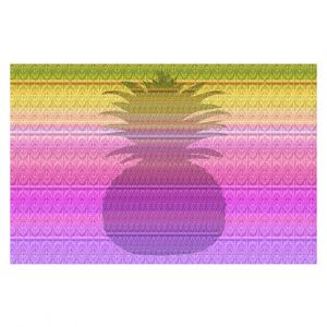 Decorative Floor Covering Mats | Susie Kunzelman - Pineapple Yellow | fruit silhouette pattern