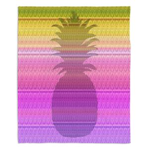 Decorative Fleece Throw Blankets | Susie Kunzelman - Pineapple Yellow | fruit silhouette pattern