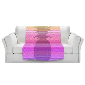 Artistic Sherpa Pile Blankets | Susie Kunzelman - Pineapple Yellow | fruit silhouette pattern