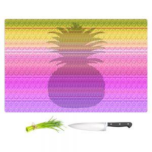 Artistic Kitchen Bar Cutting Boards | Susie Kunzelman - Pineapple Yellow | fruit silhouette pattern