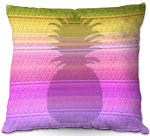 Decorative Outdoor Patio Pillow Cushion | Susie Kunzelman - Pineapple Yellow | fruit silhouette pattern
