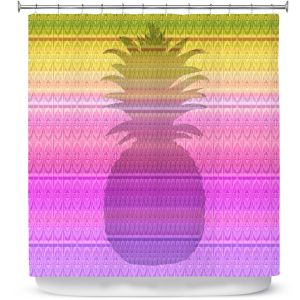 Premium Shower Curtains | Susie Kunzelman - Pineapple Yellow | fruit silhouette pattern