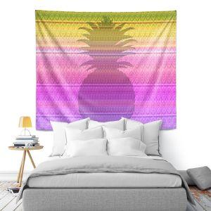 Artistic Wall Tapestry | Susie Kunzelman - Pineapple Yellow | fruit silhouette pattern