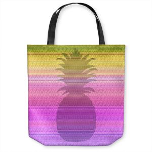 Unique Shoulder Bag Tote Bags | Susie Kunzelman - Pineapple Yellow | fruit silhouette pattern
