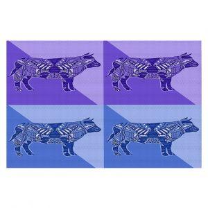 Decorative Floor Covering Mats | Susie Kunzelman - Pop Cow Blue Purple | pop art silhouette pattern animal