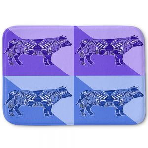 Decorative Bathroom Mats | Susie Kunzelman - Pop Cow Blue Purple | pop art silhouette pattern animal