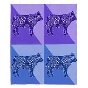 Artistic Sherpa Pile Blankets | Susie Kunzelman - Pop Cow Blue Purple | pop art silhouette pattern animal