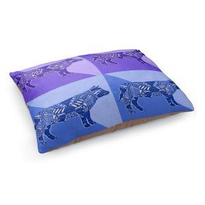 Decorative Dog Pet Beds | Susie Kunzelman - Pop Cow Blue Purple | pop art silhouette pattern animal