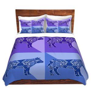 Artistic Duvet Covers and Shams Bedding   Susie Kunzelman - Pop Cow Blue Purple   pop art silhouette pattern animal