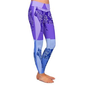 Casual Comfortable Leggings | Susie Kunzelman - Pop Cow Blue Purple | pop art silhouette pattern animal
