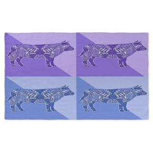 Artistic Pashmina Scarf | Susie Kunzelman - Pop Cow Blue Purple | pop art silhouette pattern animal