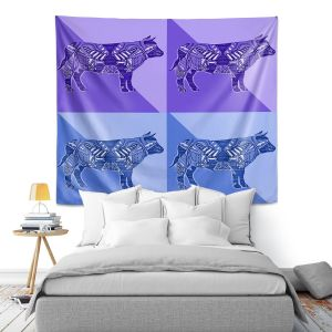 Artistic Wall Tapestry | Susie Kunzelman - Pop Cow Blue Purple | pop art silhouette pattern animal