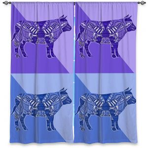 Decorative Window Treatments | Susie Kunzelman - Pop Cow Blue Purple | pop art silhouette pattern animal