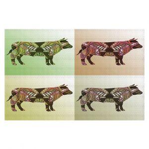 Decorative Floor Covering Mats | Susie Kunzelman - Pop Cow Neutral | pop art silhouette pattern animal