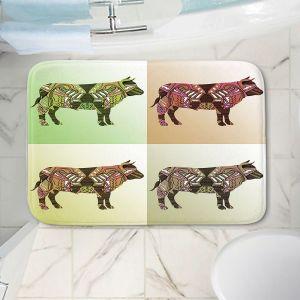 Decorative Bathroom Mats | Susie Kunzelman - Pop Cow Neutral | pop art silhouette pattern animal