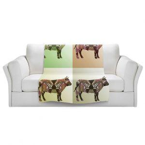 Artistic Sherpa Pile Blankets | Susie Kunzelman - Pop Cow Neutral | pop art silhouette pattern animal