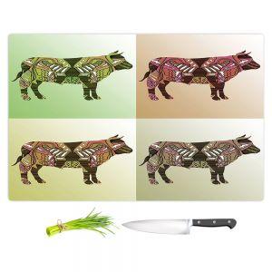Artistic Kitchen Bar Cutting Boards | Susie Kunzelman - Pop Cow Neutral | pop art silhouette pattern animal