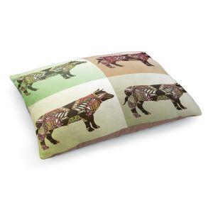 Decorative Dog Pet Beds | Susie Kunzelman - Pop Cow Neutral | pop art silhouette pattern animal