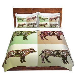 Artistic Duvet Covers and Shams Bedding   Susie Kunzelman - Pop Cow Neutral   pop art silhouette pattern animal