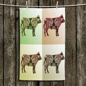 Unique Bathroom Towels | Susie Kunzelman - Pop Cow Neutral | pop art silhouette pattern animal