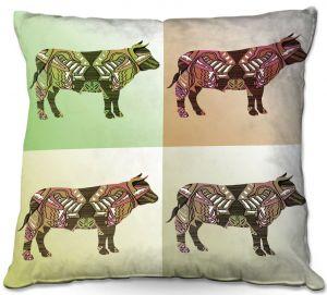 Throw Pillows Decorative Artistic | Susie Kunzelman - Pop Cow Neutral | pop art silhouette pattern animal