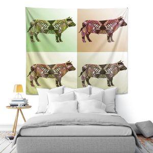 Artistic Wall Tapestry | Susie Kunzelman - Pop Cow Neutral | pop art silhouette pattern animal