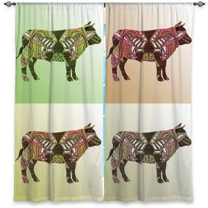 Decorative Window Treatments | Susie Kunzelman - Pop Cow Neutral | pop art silhouette pattern animal