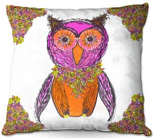 Decorative Outdoor Patio Pillow Cushion | Susie Kunzelman - Pretty Owl 1 | animal pattern drawn bird