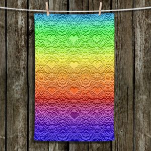 Unique Hanging Tea Towels | Susie Kunzelman - Rainbow Hearts | Stripes colors shapes