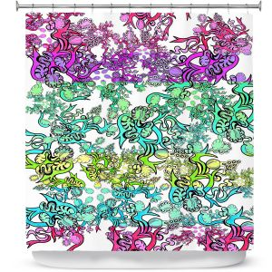 Premium Shower Curtains | Susie Kunzelman - Rainbow Ribbons Cool