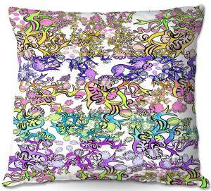 Decorative Outdoor Patio Pillow Cushion | Susie Kunzelman - Rainbow Ribbons Pastel White