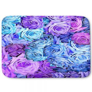 Decorative Bathroom Mats | Susie Kunzelman - Roses Lavender Blue | Flower Floral