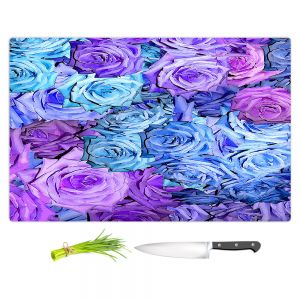 Artistic Kitchen Bar Cutting Boards | Susie Kunzelman - Roses Lavender Blue | Flower Floral